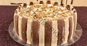 """Бърза торта без печене """"Тропикана"""" с бамбукови бисквитки..."""