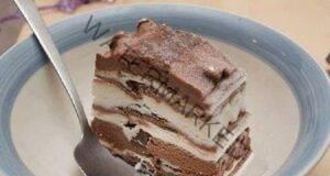 Торта без печене с мраморен ефект, готова за 15 минути