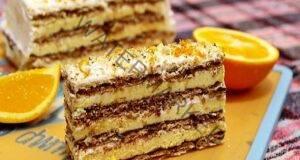 Шоколадова торта с бисквити и портокали без печене