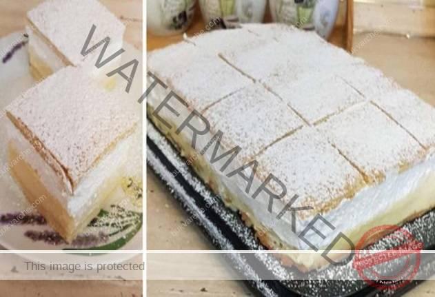 Вкусна домашна торта с ванилов крем и сметана