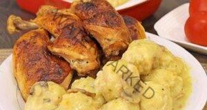 Пилешки бутчета с кнедли, много вкусни и сочни