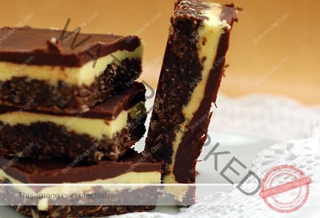 Нежна шоколадова торта с бадеми - без печене