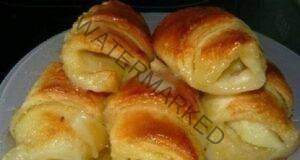Домашни кроасани с бутер тесто и пълнеж от ябълки