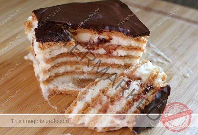 Еклер торта без печене с шоколадова глазура - топи се в устата