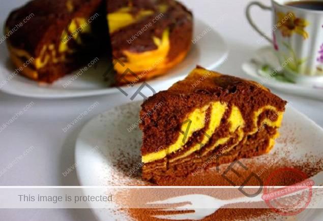 Тиквен кекс с шоколадов аромат - сочен и красив