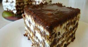 Торта със сухари без печене с шоколадова глазура