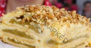 Баварска ябълкова торта с нежен крем, канела и орехи