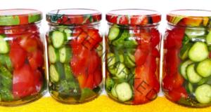 Заготовка с краставици и домати за зимата. Вкусна рецепта