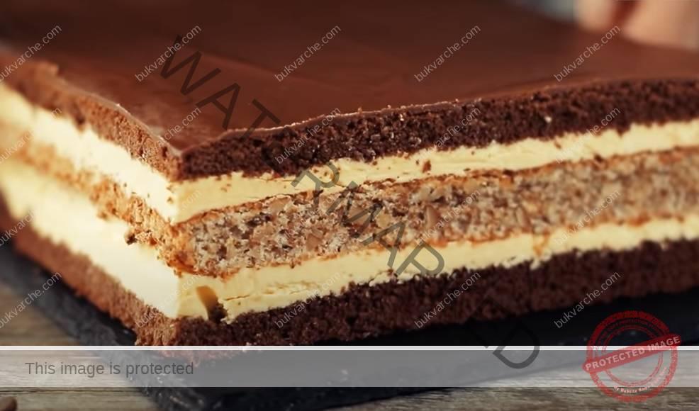 Торта с два крема и шоколадова глазура. Сочно и вкусно