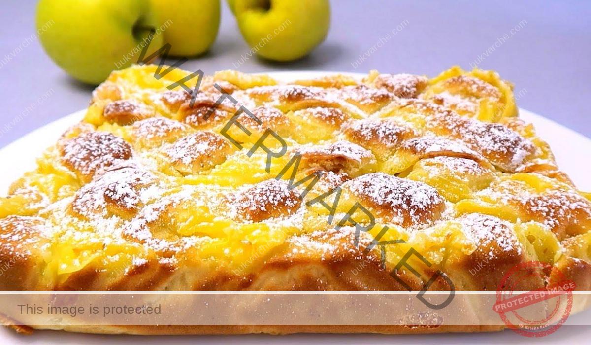 Ябълков сладкиш с крем и ванилов аромат. Опитайте!