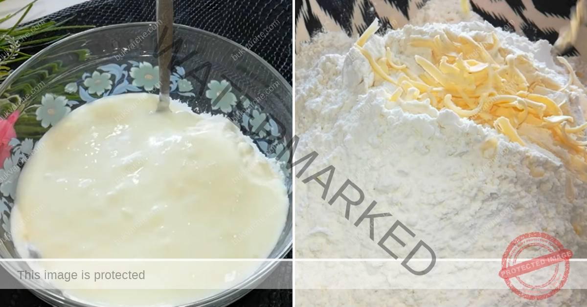 Картофен пай с кайма, майонеза и кефир на фурна