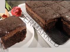 Какаова торта със сладко от кайсии - сочна и вкусна