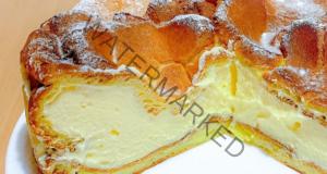 Сладкиш с парено тесто и сочен и вкусен яйчен крем