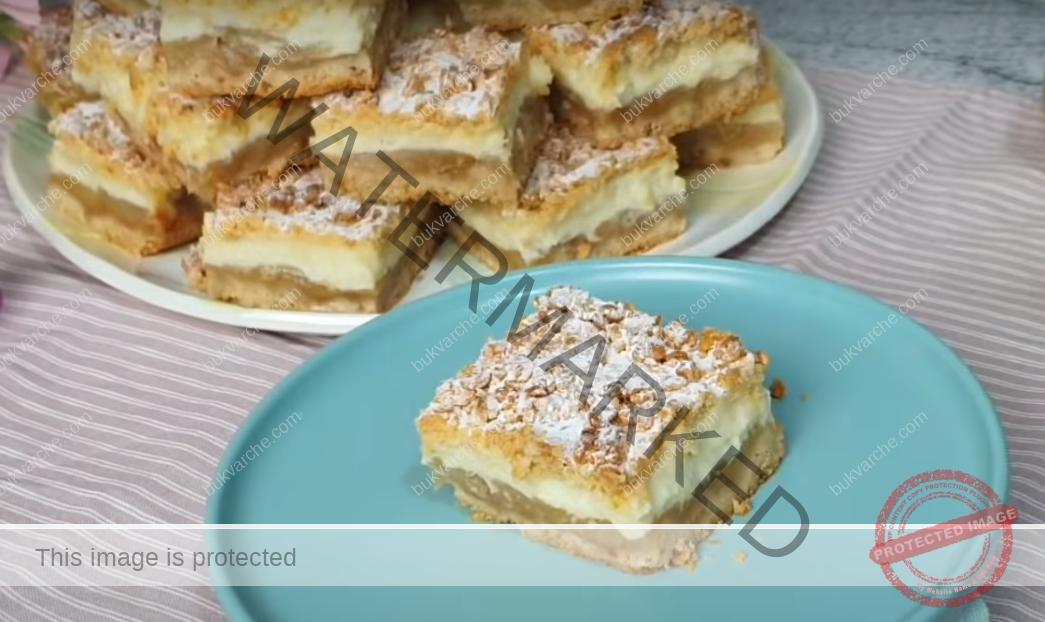 Ябълков сладкиш с пудинг - трябват ви 1 кг ябълки и 350 г брашно