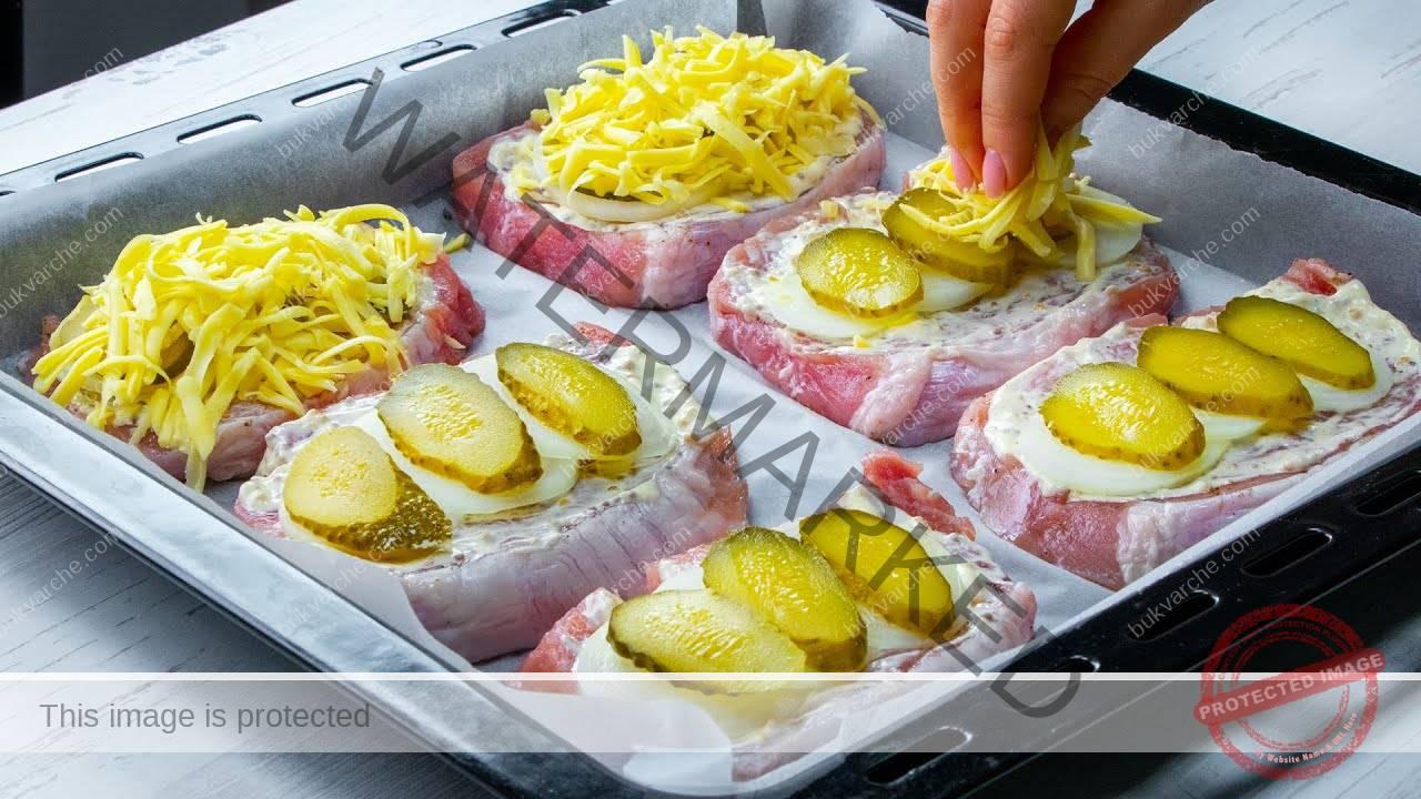 Свински пържоли с майонеза и горчица на фурна