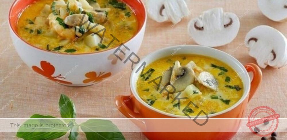 Гъбена супа със зеленчуци и сирене - страхотен вкус и аромат