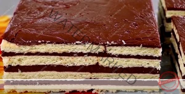Какаова торта с бисквити и грис - бюджетна рецепта