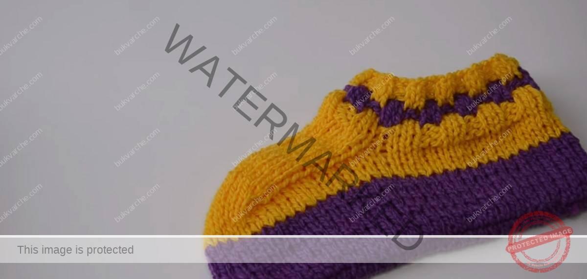 Двуцветни терлици на две игли, които се плетат лесно