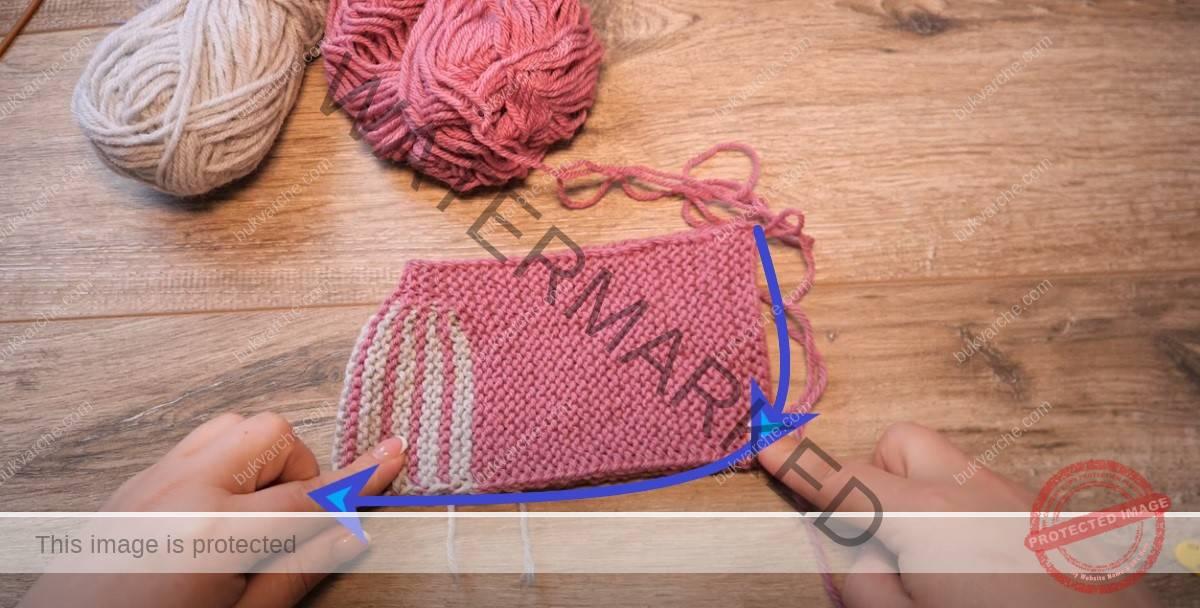 Двуцветни дамски терлици, които се плетат на две игли