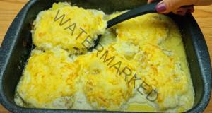 Вратни пържоли на фурна с горчица, кашкавал и сметана