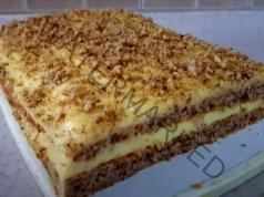 Лесна орехова торта с ванилов крем и бял шоколад