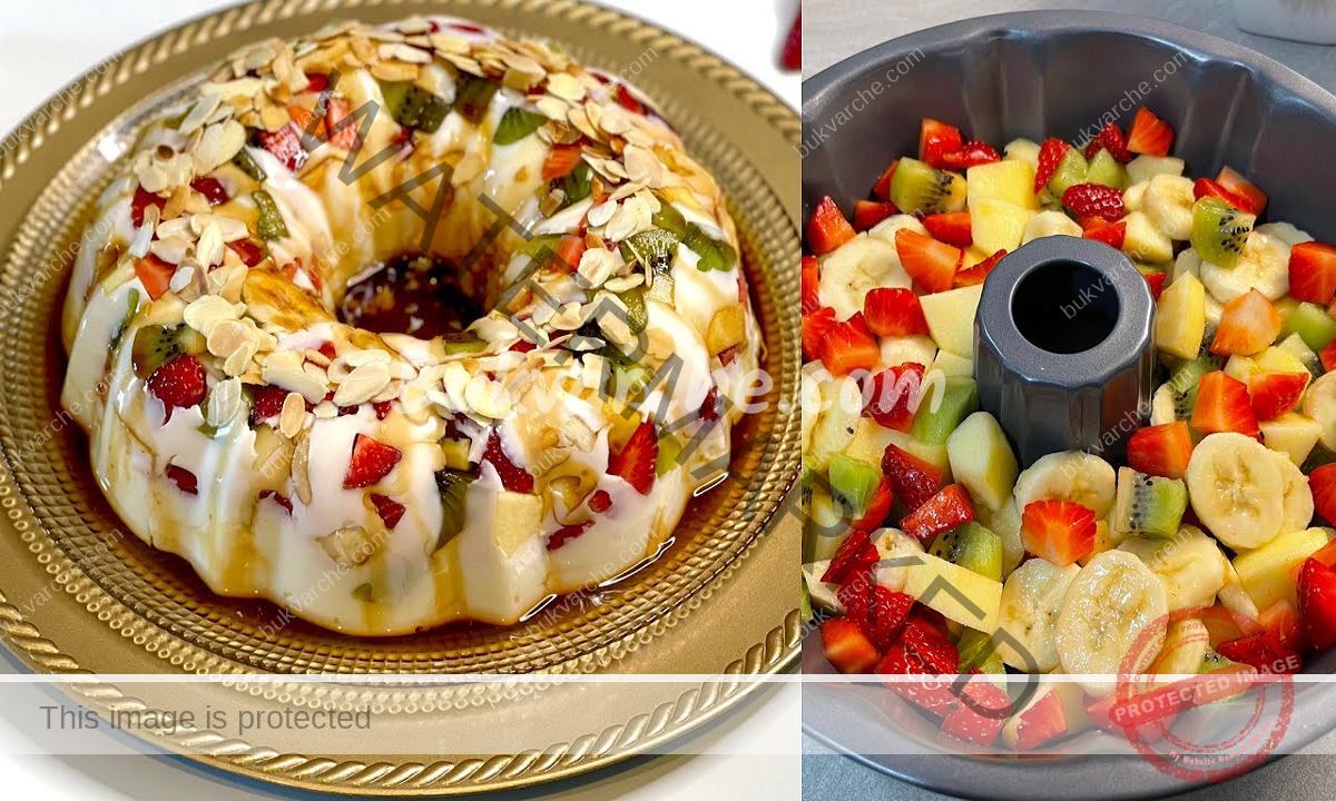 Плодов десерт с пудинг и бисквити и аромат на карамел