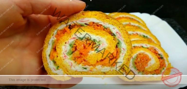 Руло от моркови с рулца от раци или пълнеж по ваше желание