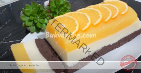 Трицветен кремообразен десерт без печене – топи се в устата