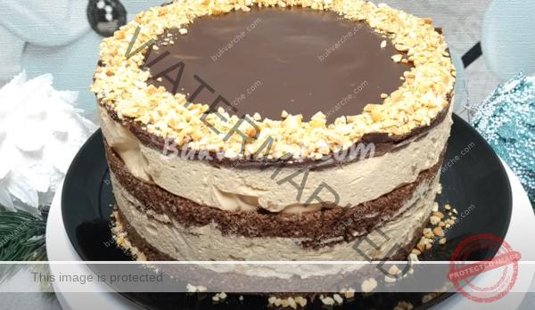 Домашна торта с фъстъци и крем с кондензирано мляко