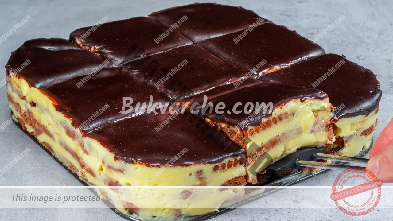 Торта с какаови бисквити, банани и шоколадова глазура