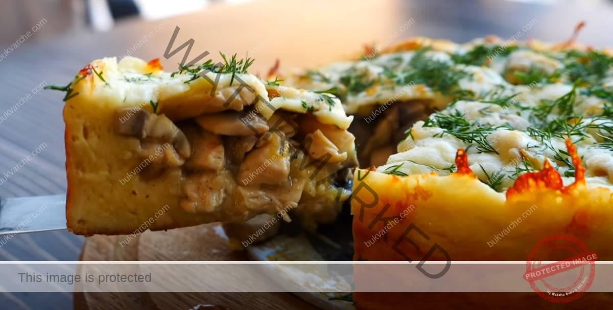 Торта с картофен блат и пълнеж от пилешко и гъби