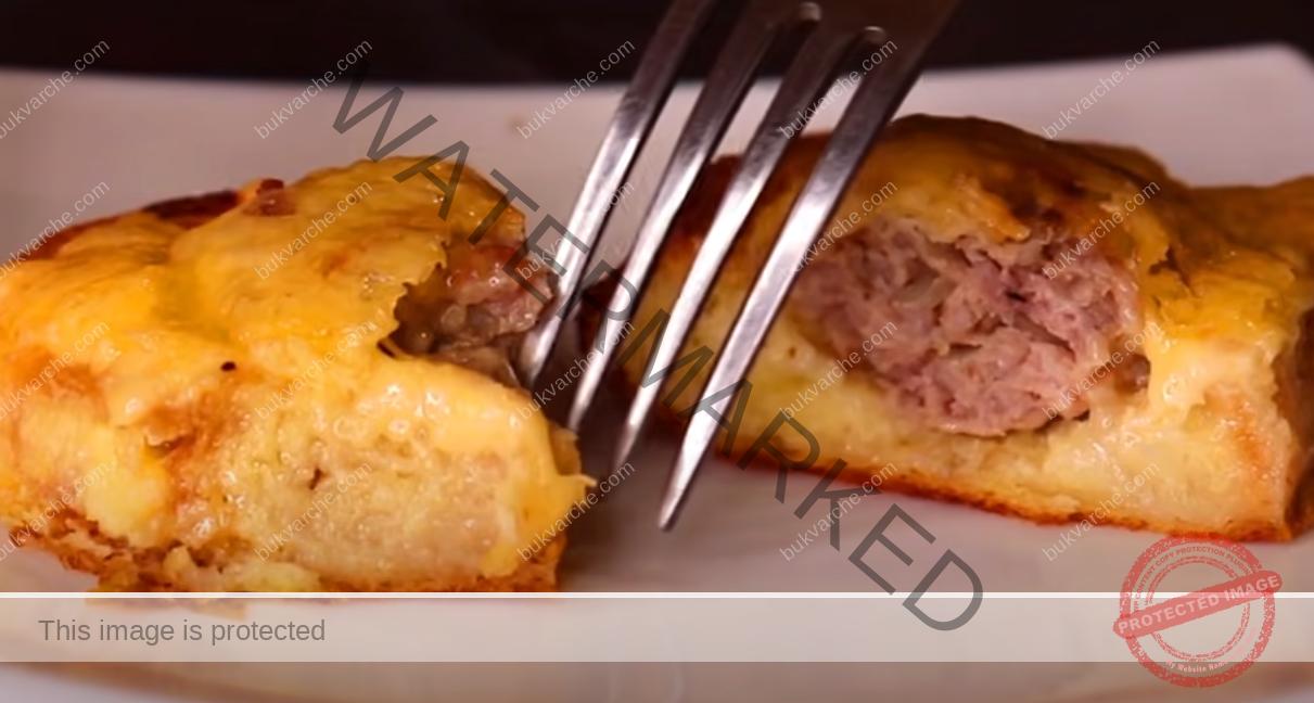 Пай с кайма и хляб - смесвате всичко и слагате да се пече