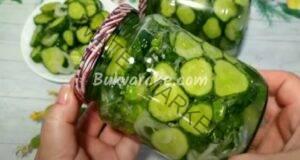 Краставички в буркани за зимата с лук и чесън. Рецепта