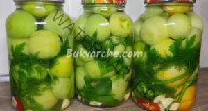 Зелени домати в буркани за зимата - отлично мезе