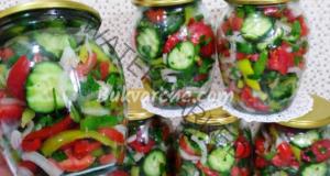 Салата в буркани от краставици и домати - апетитна и ароматна