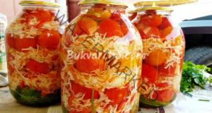 Мариновани домати със зеле в буркани за зимата