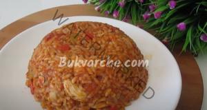 Пилешко месо с ориз и зеленчуци на тиган