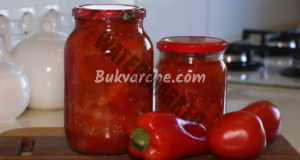 Пържени чушки с домати и лук в буркани за зимата